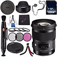 Sigma 50mm f/1.4 DG HSM Art Lens for Nikon F #311306 + 77mm 3 Piece Filter Kit + 128GB SDXC Memory Card + Lens Pen Cleaner + Microfiber Cleaning Cloth + Tripod Bundle (International Model No Warranty)
