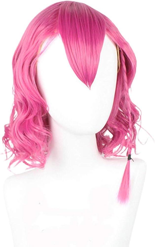 Saicowordist Danganronpa Anime Kazuichi Soda Cosplay Wig Pink Curly Hair Wig Anime Cosplay Costume Hair for Adult Teenagers