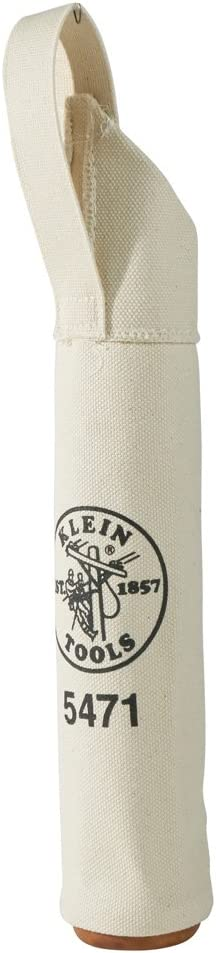 Canvas Bag, Electrode Bag with Hard Leather Bottom and Web Belt Loop, 2.5-Inch Diameter Klein Tools 5471
