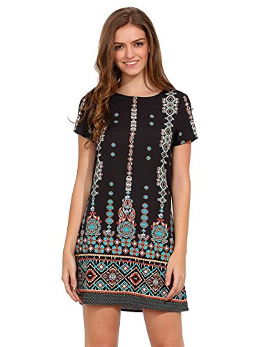 (Milumia Women's Bohemian Aztec Print Ethnic Style Summer Shift Dress Black)