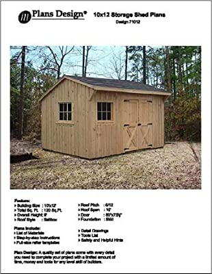 10' X 12' Saltbox Style Storage Shed Project Plans - Design #71012 from Plans Design