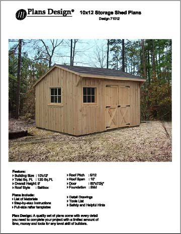 10u0027 X 12u0027 Saltbox Style Storage Shed Project Plans   Design #71012
