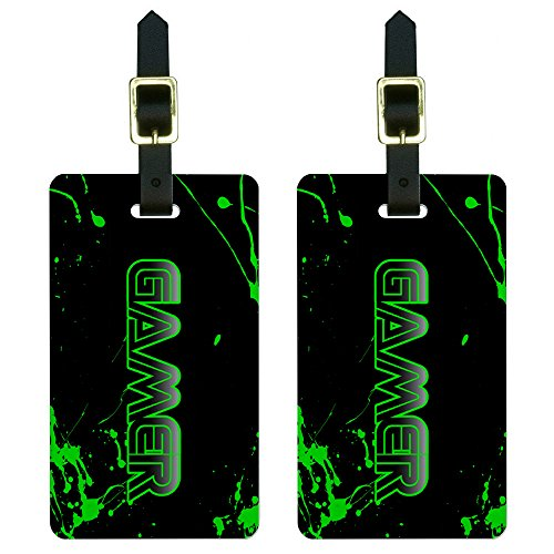 Gamer Paint Splatter - Gaming Geek Luggage Tags Suitcase Carry-On ID Set of 2 (Geek Luggage)