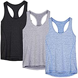 icyzone Workout Tank Tops for Women - Racerback Athletic Yoga Tops, Running Exercise Gym Shirts(Pack of 3)(S, Black/Granite/Blue)