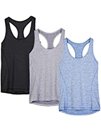 Workout Tank Tops for Women - Racerback Athletic Yoga Tops, Running Exercise Gym Shirts(Pack of 3)
