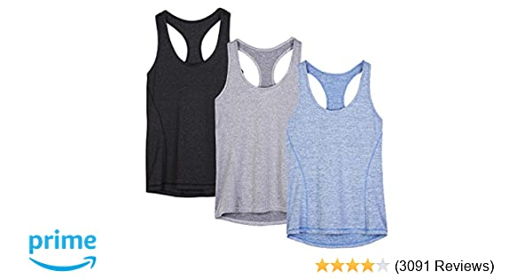 f48e6fc7ca0e Amazon.com: icyzone Workout Tank Tops for Women - Racerback Athletic Yoga  Tops, Running Exercise Gym Shirts(Pack of 3): Clothing