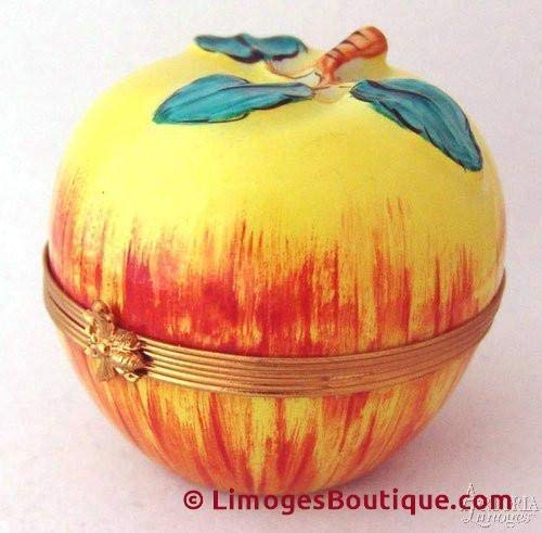 Red & Yellow Apple - French Limoges Boxes - Porcelain Figurines Collectible Gifts