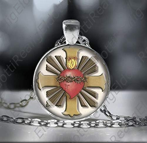 Jesus Christ Sacred Heart Necklace, Catholic Medal Pendant, Religious Christian Jewelry ()
