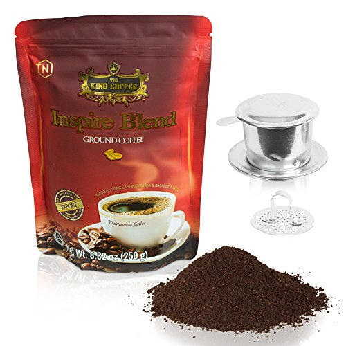 Vietnamese Dark Roast Ground Coffee – 8.8 oz Authentic Inspire Blend of Arabica, Robusta, Excelsa and Catimor, for a Warming Rich Flavor with Chocolate Overtones, Low Acidity, Med Caffeine