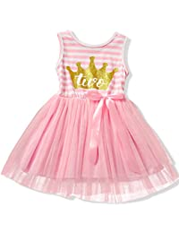 NNJXD Girl Shinny Stripe Baby Girl Sleeveless Printed Tutu Dress