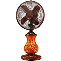 Deco Breeze DBF0672 Glass Table Fan, Rustic Crackle, 10-Inch