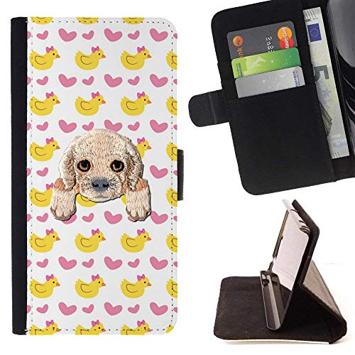 [ Cocker Spaniel ] Embroidered Cute Dog Puppy Leather Wallet Case for LG V20 [ Yellow Baby Duck Heart Pattern ] (Embroidered Ducks Leather)