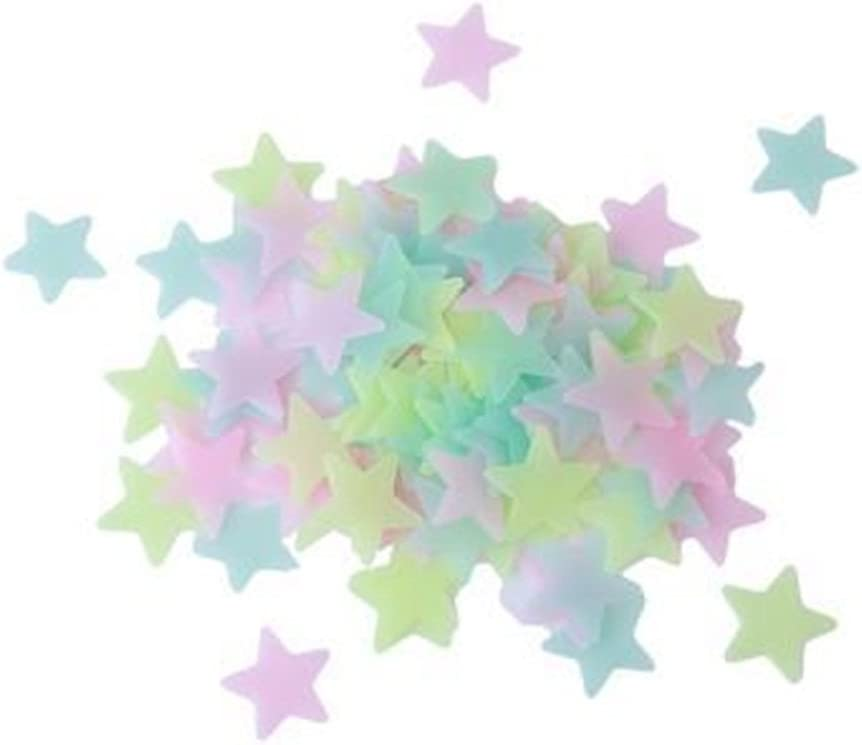 HENGSONG 100pcs Colorful Home Wall Glow in The Dark Star Stickers Decal Baby Kids Gift (Colorful)