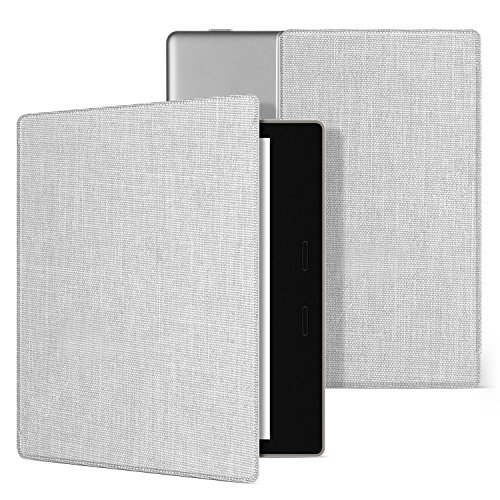 Ayotu Fabric Case for Kindle Oasis(9th Gen, 2017) Thinnest and Lightest, Durable Soft Fabric Cover with Auto Wake/Sleep Function, Strong Adsorption for All-New 7''Kindle Oasis Case, KO-09 The White ()