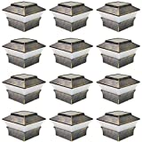 iGlow 12 Pack Vintage Bronze Outdoor 4 x 4 Solar LED Post Deck Cap Square Fence Light Landscape Lamp Lawn PVC Vinyl Wood