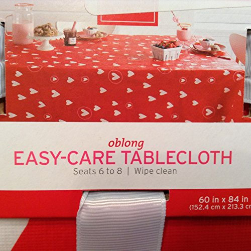 All Over Hearts Valentine Vinyl Tablecloth 60