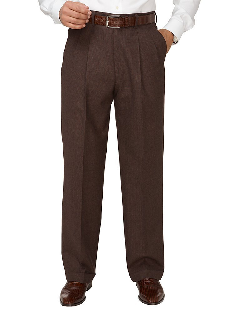 1940s Mens Clothing Paul Fredrick Mens Super 110s Wool Cashmere Plaid Pleated Pants $89.95 AT vintagedancer.com