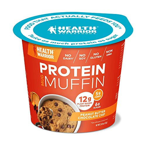 - HEALTH WARRIOR Protein Mug Muffins, Peanut Butter Chocolate Chip, 12g Plant-Based Protein, Gluten Free, Vegan, Low Sugar, Non-GMO, 2.01oz cups (Pack of 6)