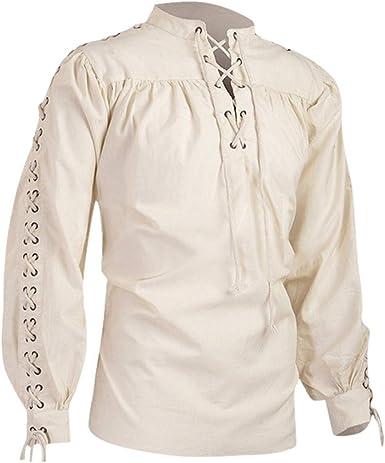 CAOQAO Camisas Hombre Blusa de Hombre de Moda, Camisa Medieval de Manga Larga, Blusa de Hombre gótico: Amazon.es: Ropa y accesorios
