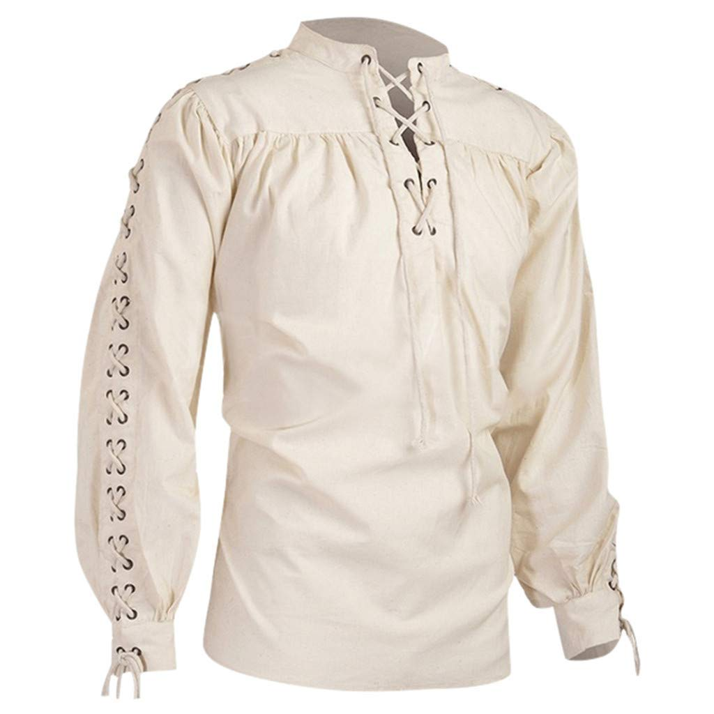 FEDULK Plus Size Men Retro Shirt Bandage Long Sleeve Medieval Shirt Gothic Man Blouse S-5XL(White, Small) by FEDULK