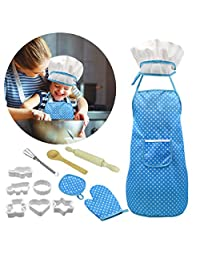 Gojiny Kids Chef Costume, 13Pcs Play House Cooking Baking Set Kids Chef Role Play Set Apron Hat Biscuit Mold