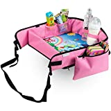 Pink Kids Travel Lap Tray - by KIDSMARTER - Toddler Lap Tray, Play Tray, Snack Tray, Activity Tray, for Car Seat and Stroller (Pink)