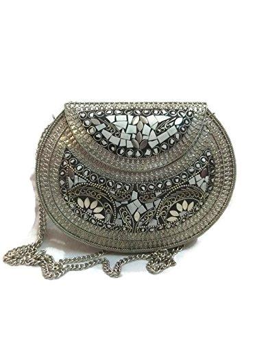 Pochette a mano alla moda etnica metallo cum Sling / Handmade stylish Ethnic Metal Clutch cum Sling Bag