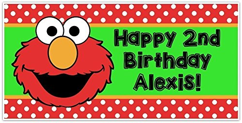 (Elmo Sesame Street Birthday Banner Personalized Party Backdrop)