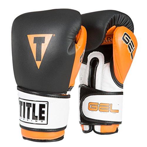 TITLE Gel Intense V2T Bag Gloves, Black/Orange, 14 oz