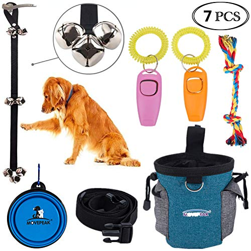 Cilkus 7 Piece Dog Training Set - Dog Training Clicker, Treat Pouch Bag, Housetraining Door Bells, Dog Toys, Dog Bowl.Puppy Supplies Starter Kit for Teaching Commands, Bark Control and Potty Training