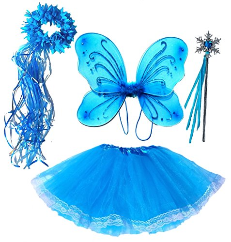 Blue Ice Princess Costume (Frozen Inspired Girls Fairy Costume (Age 2-7) 4 Piece Set)