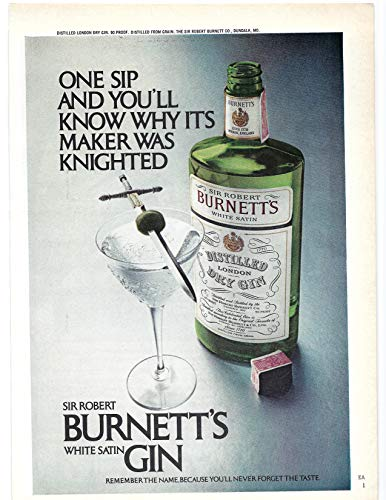 Burnetts Gin - 1971 Vintage Print Ad for Burnett's Gin | Its Maker was Knighted Bar Décor