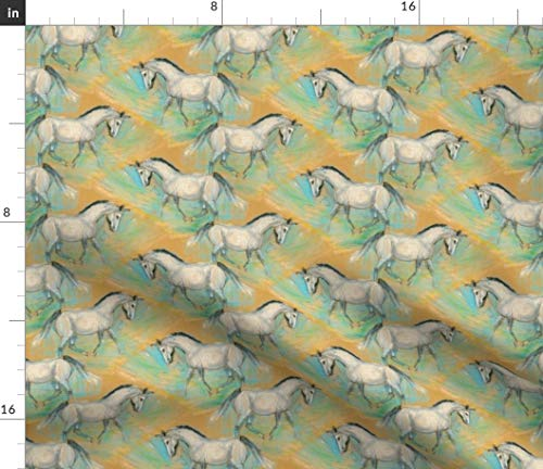 Horse Fabric - Horse Painting Vintage Home Decor Upholstery Horse Pony Juvenile Vintage Print on Fabric by The Yard - Sport Lycra for Swimwear Performance Leggings Apparel Fashion