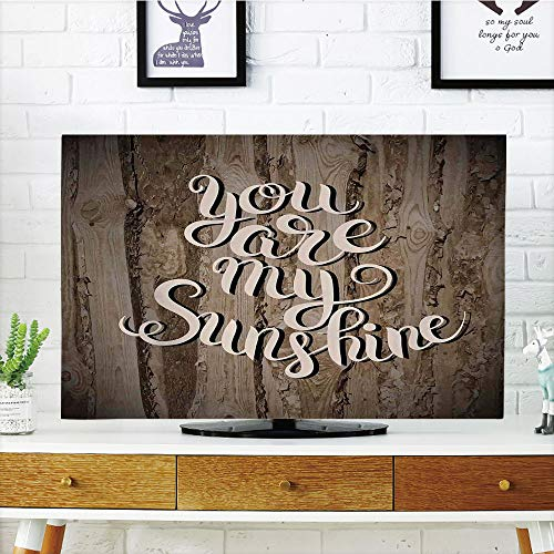 LCD TV dust Cover Customizable,Quotes Decor,Romantic Positive Phrase on Rustic Oak Relationship Life Marriage Enjoy Concept,Brown,Graph Customization Design Compatible 55