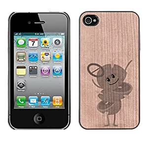 // MECELL CITY PRESENT // Cool Funda Cubierta Madera de cereza Duro PC Teléfono Estuche / Hard Case for iPhone 4 / 4S /// Funny Mobile Game Fruit Character ///
