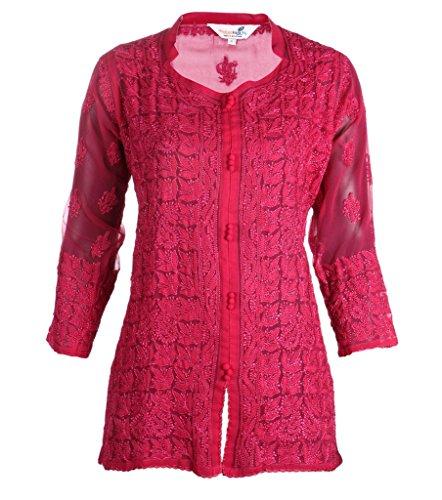 indiankala4u Ladies Chikan bordado georgette de mano de hilos de Resham Top rojo (Maroon)