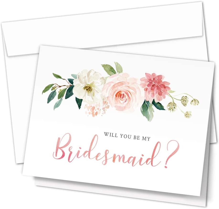 Set of 10 Elegant Floral Cards for the Bridal Party Bridesmaid Proposal Cards 8 Will You Be My Bridesmaid and 2 Maid of Honor Cards with Envelopes
