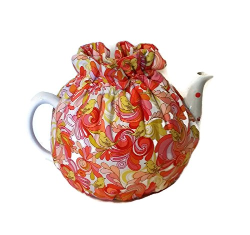 - Teapot Cozy, tea warmer with Yellow birds and Orange, Red paisley on white for a 5-8 cup teapot #315