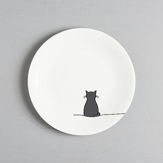 Jin Designs - Plato lateral de porcelana fina con gato sentado, 20 ...