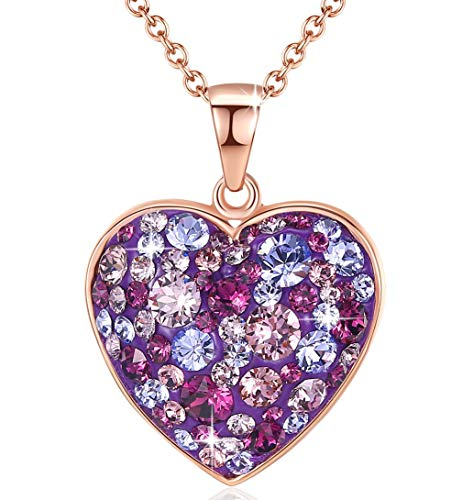Esottia Multi-Stone Heart Pendant Necklace Made with Swarovski Crystals 18K Rose Gold Plated 18