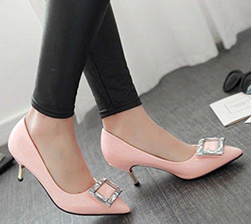Aisun Dames Elegante Lakleer Strass Puntschoen Jurk Slip Op Pumps Stiletto Kitten Hakken Schoenen Roze