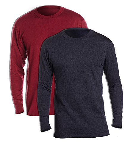 Duofold KMW1 Men's Midweight Thermal Crew Large 1 Bordeaux Red + 1 Navy (Cotton Duofold Jersey)