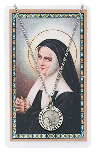 Saint Bernadette 3/4-inch Pewter Medal Pendant Necklace with Holy Prayer Card (Patron Saint Of The Unemployed Job Seekers)