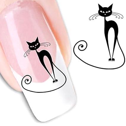 2 x Adhesivo sticker gato gatos Nail Art Decoración Uñas Transferencia Agua