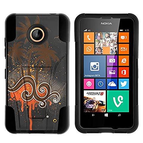 Nokia Lumia 635 Case, Nokia Lumia 630 Case, Dual Layer Shell STRIKE Impact Kickstand Case with Unique Graphic Images for Nokia Lumia 635, 630 (AT&T, Sprint, T Mobile, Cricket, Virgin Mobile, Boost Mobile, MetroPCS) from MINITURTLE | Includes Clear Screen Protector and Stylus Pen - Orange (Nokia Lumia 635 Cases For Guys)