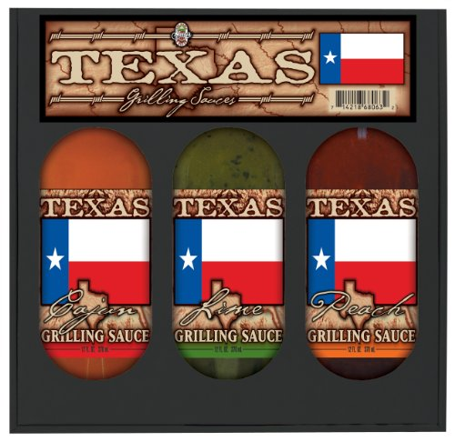 8 Pack TEXAS FLAG GRILL SET: Lime, Peach, Cajun Grilling Sauces in gift box 3pk by Hot Sauce Harry's
