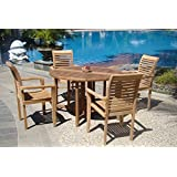 """Grade-A Teak Wood luxurious 5 pc Dining Set : 48"""" Round Table and 4 Stacking Sam Arm Chairs #TSDSMS1"""