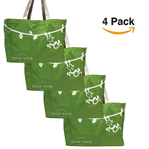 Cute Re Useable Grocery Shopping Bag Set. Heavy Canvas, Cotton Fabric Totes With Animal Design. Medium Large, Foldable Eco Vegan Groceries Sack For Market, Fruits & Veggies. By Duni Sack Bags