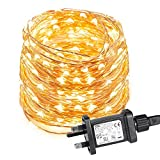 LE 10m 100 LED Copper Wire Lights, IP65 Waterproof Plug in Fairy Lights, Warm White Decorative String Lights for Party, Wedding, Garden and More