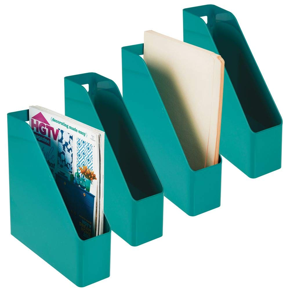 mDesign Plastic File Folder Bin Storage Organizer - Vertical with Handle - Holds Notebooks, Binders, Envelopes, Magazines - Container for Home Office and Work Desktops - 4 Pack - Teal Blue